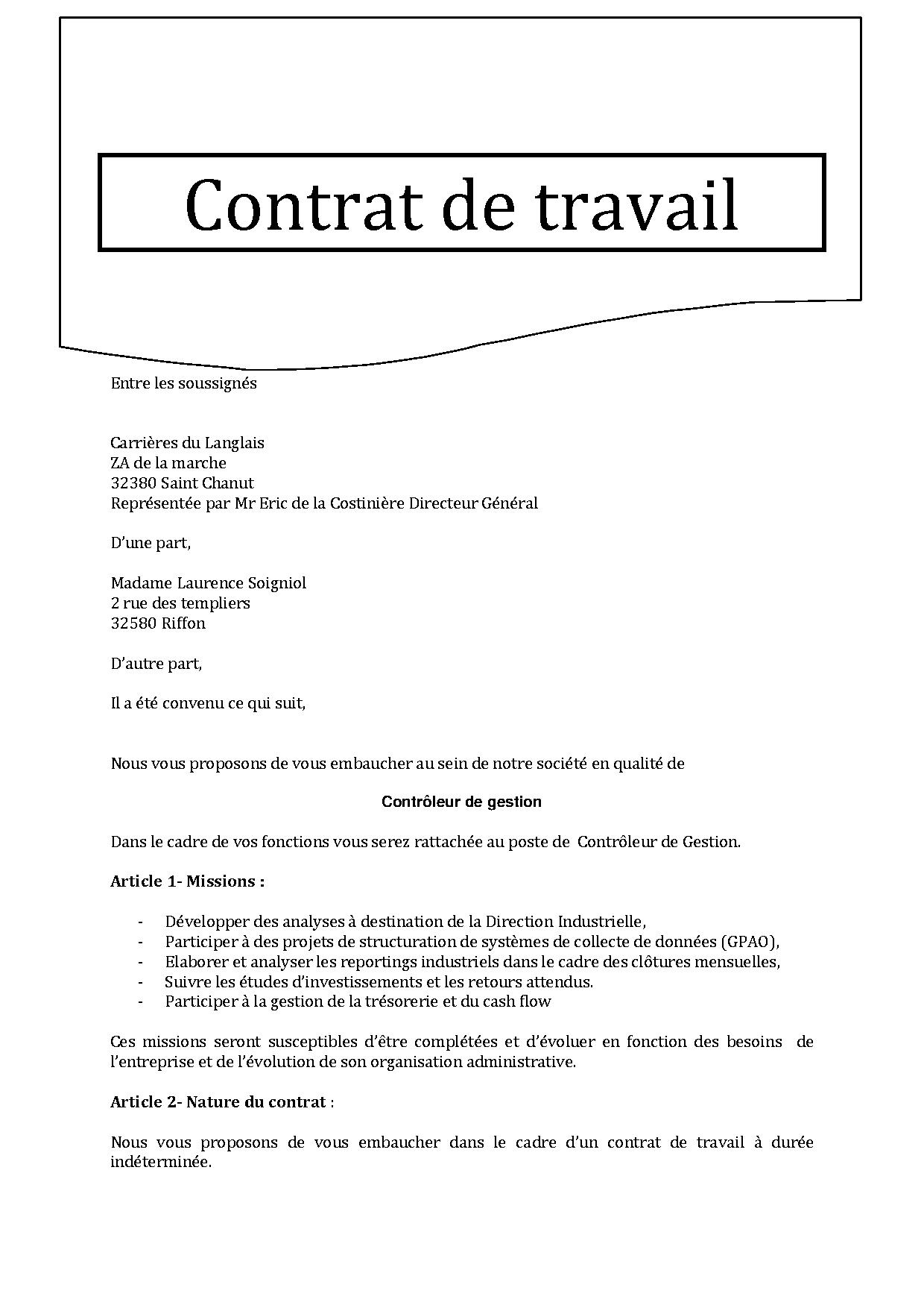 CONTRAT DE TRAVAIL | Juris Laboris